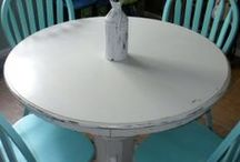 Furniture Painted Various Tables, Chairs, Benches, Shelves and More / Painted and repurposed tables, chairs, benches, shelves, stools, and more.