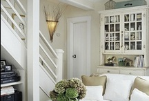 Basement Inspiration / Inspiration for our basement guest suite that includes a TV area, bedroom, kitchen and bathroom plus storage. We are striving for a rustic ranch/lake style with lots of white.