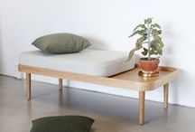 KK Bench and KK Daybench / KK Daybench and Bench are smaller versions of the KK Daybed but just as multifunctional. Due to its small size, the KK Bench can be placed nearly everywhere in the home for extra seating. Place it in the hallway or use it in the bedroom as combined nightstand and dressing seat.   The KK Daybench is intended as a small 2-seater sofa, but you can customize it to your liking by playing around with the seat and back cushions. Without cushions, both benches even functions as coffee tables.