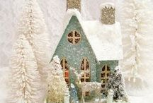 Cottage Christmas / Decorating for Christmas in vintage, shabby chic, rustic or cottage style. Feather trees, baskets, wooden crates, vintage, burlap, Victorian glass ornaments, gingham ribbon