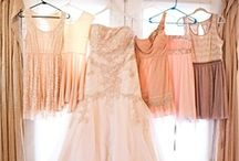 for my ladies. / It's going to be a rustic, outside, May 2014 wedding! Bridesmaid dresses: shades of coral, different mixed match styles. I love lace and short dresses.  Fun hair styles; (we will be outside), pretty jewelry, and shoes!   I appreciate you girls :)