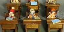 Vintage Toy Schools / Dollhouse-sized schools, school rooms, libraries - mostly vintage