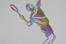 """Animals & Sports Paintings Home Decor Gifts - Watercolors by Barbara Rosenzweig - Fine Art Paintings / Unusual, creative paintings of animals & sports figures. Great child's room décor!  To discover my work and learn more about me please visit http://BarbaraRosenzweig.etsy.com.  The """"Animals"""" and """"Sports"""" series are a rainbow fantasy, an experimental exploration into color and form. Enjoy!"""