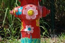 Painted fire hydrants and street signs