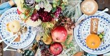 Thanksgiving Entertaining / Tables to be thankful for. Dazzling holiday tablescapes with the ideal place settings to accommodate a Thanksgiving feast.
