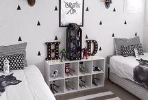 Home: Nursery Bedroom/Bath / toddler room. bathroom ideas. toddler boy room. black and white. modern toddler. stylish toddler room. / by Tawny Vena