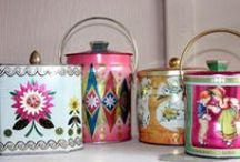 Tins / Biscuit or tea tins and other pretty containers.