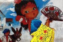 SPANISCH CARDS / Geborduurde vakantie ansichtkaarten uit Spanje van de jaren 60-70.