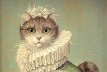 Vintage CATS. / Afbeeldingen van katten in de vorm van foto's, beeldjes, posters, prenten en dergelijke.