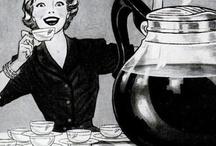 Vintage COFFEE / Coffee afbeeldingen- apparaten- blikken- molens-foto's van mensen die koffie drinken.