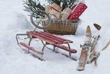 prim sleds, ice skates, bells, snow shoes