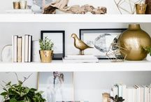 Home Inspiration - Decor / Coffee table styling, shelf styling, brass and marble inspired