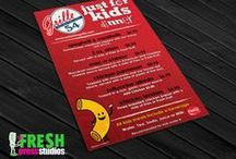 Graphic Design Portfolio www.freshpressstudios.com / Logos, brand identity, T-shirts, trade show displays, greeting cards for any occasion, and more.  / by Fresh Press Studios