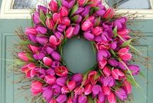 """Wreaths All Around / """"Symbolizing eternal hope, the wreath goes 'round and 'round, And where it starts or ends cannot be found. Woven of things that grow - for life, and hung for holiday delight The wreath must be left in place From Advent through Twelfth Night."""" / by Susan Stapleton"""