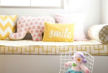 {Nursery} Sunshine Yellow at UrbanBaby / A happy place of sunshine and moonbeams! Yellow is the perfect neutral for a sweet and sunny nursery.  Soft with whites, funky with black, mod with greys, and retro with turquoise.