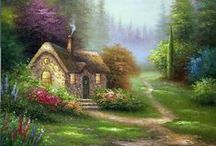 aRt ~ fAirYtAle coTTageS / I have always loved pictures of homes that say WELCOME!!     I Like sweet little cottages or cabins in the woods.  You know the ones with a light glowing in the window, flowers in the yard or smoke coming from the chimney.   I hope you enjoy them too.