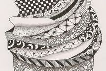 Zentangle / Zentangle and doodle patterns, letters, borders, and ideas.  How to Zentangle.