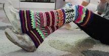 Kirjoneulesukkia ja säärystimiä, By Minna ♥ / Neulottuja kirjoneulesukkia ja säärystimiä. Knitted colorful fair isle woolsocks and legwarmers.  ©M.Leinonen-Tyni, All Rights Reserved Minna Leinonen-Tyni Design©