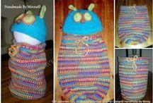 Baby stuff, Vauvojen juttuja- made by Minna / virkattuja vauvojen pipoja, toukkapusseja, tossuja ja asusteita. Crochet baby hats, cocoons, slippers and accessories