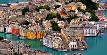 Ålesund/Norway / Alesund 1904 yılında büyük bir yangın geçirmiş. Şehirdeki 850 adet ahşap ev yanarken yaklaşık 10 bin kişi evsiz kalmış. Şehir ahalisini çoğunlukla zengin balık tüccarları oluşturuyormuş. Alesund yangının ardından Art Nouveau tarzı mimari ile 3 yıl içinde yeniden ama bu sefer tuğladan inşa edilmiş. Almanya ve İngiltere'de eğitim görmüş 50 kadar mimar 3 yıl içinde şehri küllerinden yeniden canlandırmışlar.