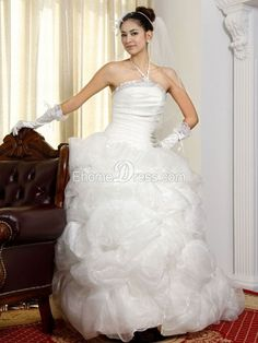 Satin Ball Gown Bateau Outdoor Wedding Gown with Ruffles TPWD10001