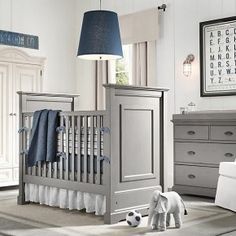 Baby Nursery Room Design Ideas - Gray and blue boys nursery room
