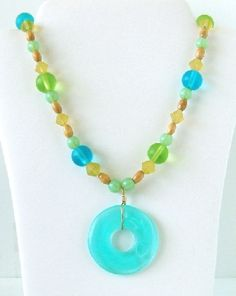 Glass and Wood Beaded Necklace Acrylic Pendant