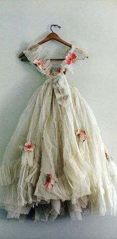 old tulle & paper flowers.