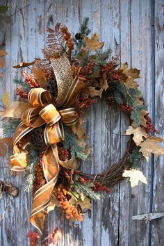 Christmas Wreath, Lotus Pods, Grapevine, Copper, Gold