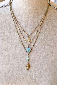 Talia. bohemianlayeredcharm necklace by tiedupmemories on Etsy, $36.00