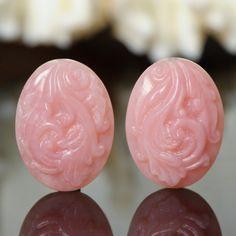 Eastern Trade Winds :: Sculptures & Carvings :: Gemstone :: PINK PERUVIAN OPAL Art Carving Gemstone Earring Pair 18.26 ct