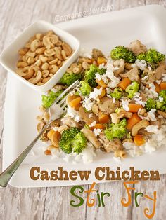 Cashew Chicken Stir Fry | 2 T cornstarch, ⅔ c chicken broth, 3 T soy sauce, ½ t ginger, 2 T vegetable oil, 2-3 skinless, boneless chicken breasts, cubed, ½ c chopped carrots, 1 c broccoli spears, 1 (8 oz) can sliced water chestnuts, ⅔ c cashews, 2 c cooked rice
