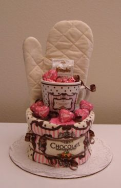 Gift ideas on pinterest towel cakes welcome bags and in for Pink and brown kitchen ideas