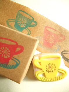 vintage coffee cup rubber stamp - hand carved rubber stamp - hand carved stamp - via Etsy.