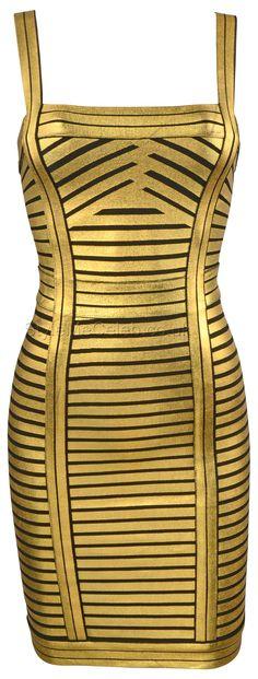 'Luxe' Gold Foil Strip Bandage Dress