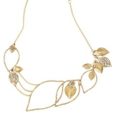 """Leaf Statement Necklace  $128.00 / Item # N114G  Clear crystal pave open leaves of varying sizes linked casually together and accented with clusters of textured and black diamond and clear crystal pave leaves in a stunning collar necklace. Hangs from lobster clasp with 2"""" extender and c+i bird logo tag."""