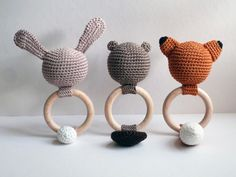 """Rattles & Teething Toys – Baby Rattle """"Bob the Beaver"""" // crochet – a unique product by a-french-touch on DaWanda"""