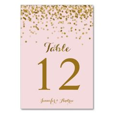 Gold Glitter Confetti Wedding Table Numbers Blush Table Card
