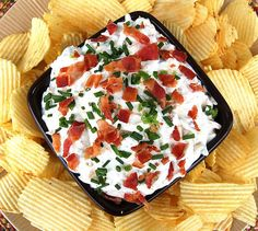 Loaded Baked Potato Dip 16 ounces of sour cream 4 oz softened cream cheese 1 oz packet of Ranch seasoning 1/4 tsp black pepper 1 jalapeno, minced (I use the whole thing, seeds and all) 6 oz of shredded Cheddar cheese 3/4 pound of bacon, cooked and crumbled 3 TBS snipped chives