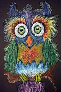 Oil Pastel Owls - great use of color value