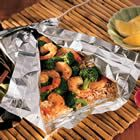 Shrimp, Broccoli & rice in tin foil. NO DISHES!!!
