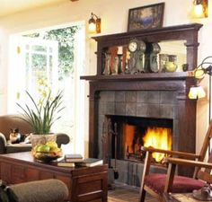 Cozy!  http://www.bhg.com/decorating/fireplace/mantels/decorating-ideas-for-old-hearths/#page=6 [ #mantel #mantle #display #ideas #fire #place #fireplace #rustic #vintage ]