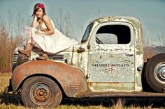 my daughter :) fancy farmgirl cowgirl boots vintage truck