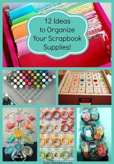 12 Ideas To Organize Your Scrapbook Supplies  #organize #crafts #diy