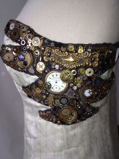 """Detail of """"Time to Wed"""" gown by Ruth Buffington & Jim Bremmer."""