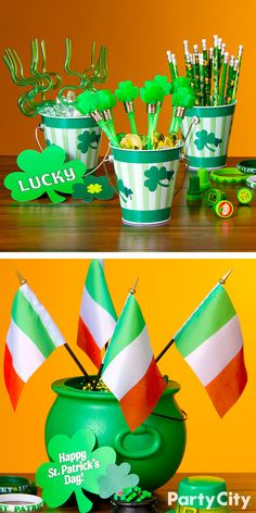 Better than a pot o' gold! These shamrock metal pails or green plastic cauldrons will make a fine centerpiece, balloon bouquet, or party favor at any St. Patrick's Day celebration! Fill with gold coins, pens, pencils, straws, flags and all other holiday treats.