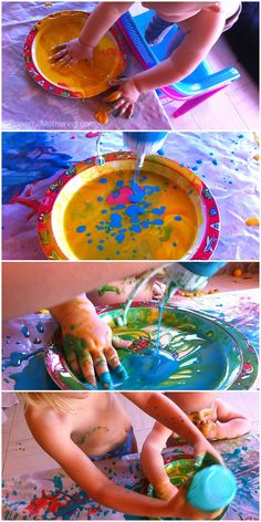 Homemade Paint and Squeeze Bottle Painting for Kids Art