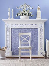 The faux mantel display http://www.bhg.com/decorating/fireplace/mantels/creating-perfect-mantel-displays/ [ #mantel #mantle #display #ideas #fire #place #fireplace   #rustic #white #periwinkle #purple ]
