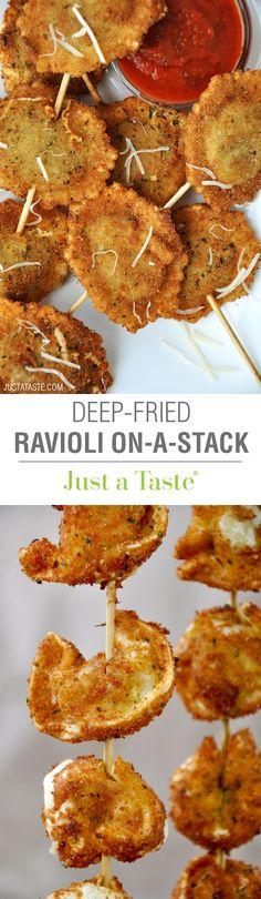 Deep-Fried Ravioli On-a-Stick #recipe via justataste.com