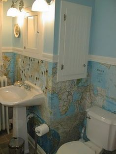 DIY Use National Geographic Maps for wallpaper. #maps